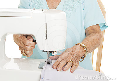 Senior hands - Sewing