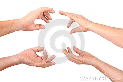 Senior hands show hold fingers gesture