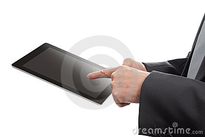 Senior hands with tablet PC