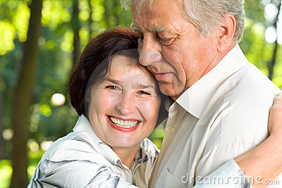 Senior happy smiling couple