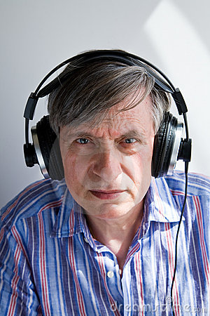 Senior with headphones