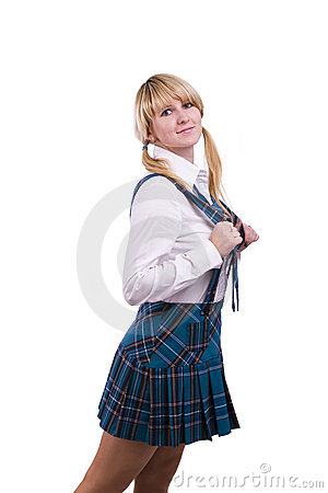Senior high schoolgirl in uniform is posing