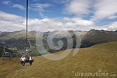 Senior hikers on cable railway