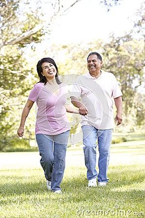 Free Senior Hispanic Couple Running In Park Stock Images - 11503184