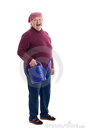 Senior holding a watering can