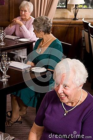 Senior ladies in restaurant