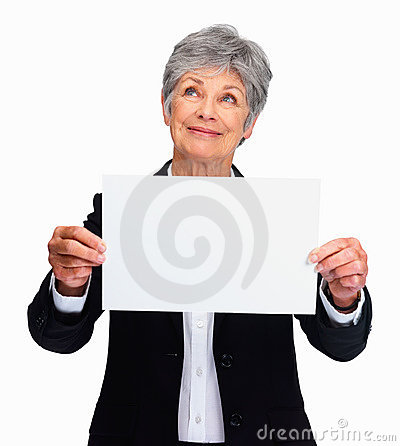 Senior lady with a blank white sign