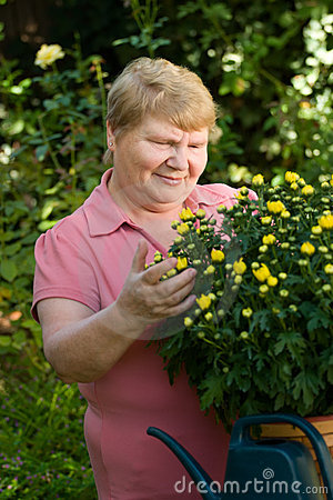 Senior lady in garden