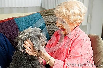 Senior Lady Loves Her Dog