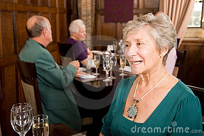 Senior lady in restaurant