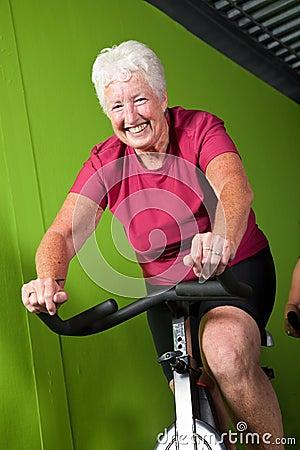 Senior lady spinning