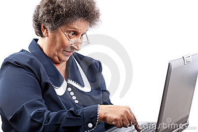 Senior lady using laptop