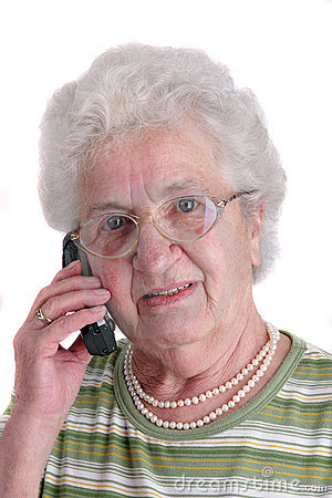 A senior lady using mobile phone