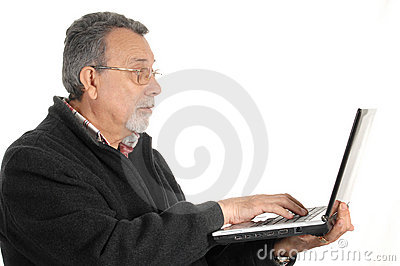 Senior with laptop computer
