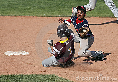 Senior league baseball world series close play Editorial Stock Photo