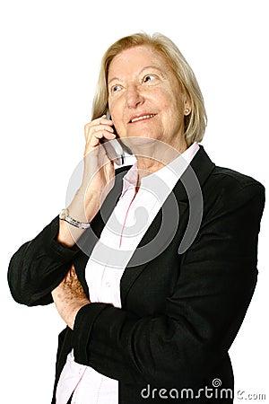 Senior listening to phone call