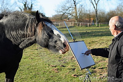 Senior male artist sketching a horse.