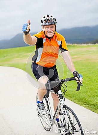 Senior male bicyclist