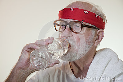 Senior Male Model Drinking Water
