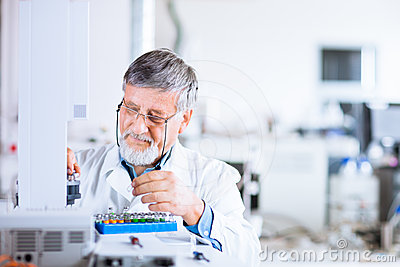 Senior male researcher  in a lab