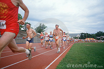 Senior male runners in Senior Olympics Editorial Stock Photo
