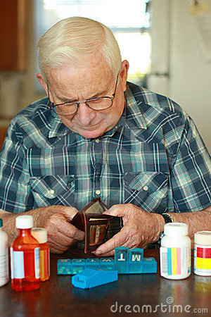 Senior male spent money on medicine