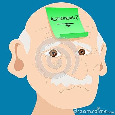 Senior man with Alzheimer sticky note