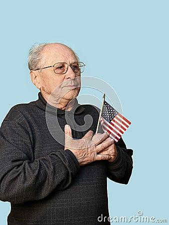 Senior man with american flag