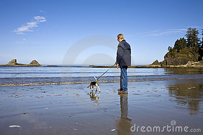 Senior Man and Beagle Dog