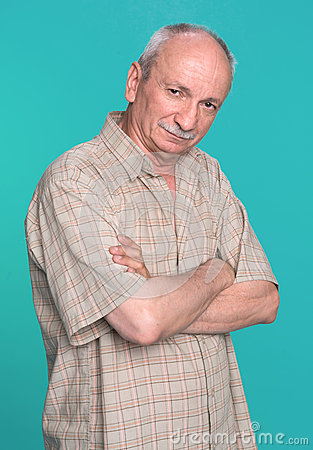 Senior man on a blue background