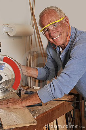Free Senior Man Carpenter Working With Wood Royalty Free Stock Image - 20677296