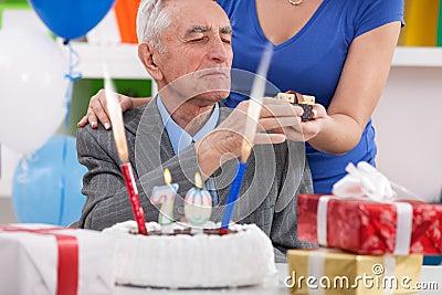 Senior man celebrating 70th birthday