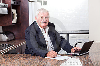 Senior man checking investment