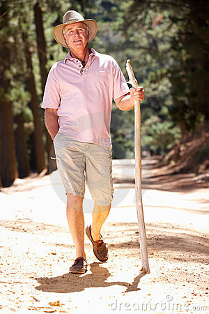 Senior man on country walk