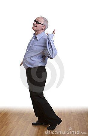Senior man dancing alone