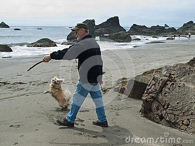 Senior man and dog on beach