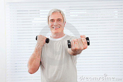 Senior man doing fitness training