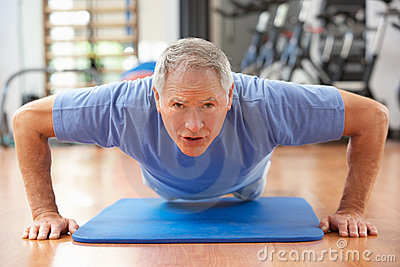 Senior Man Doing Press Ups