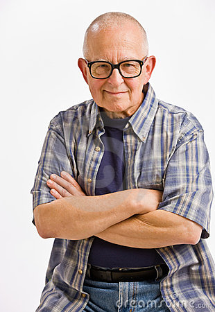 Senior man in eyeglasses with arms crossed