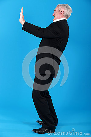 Senior man gesturing