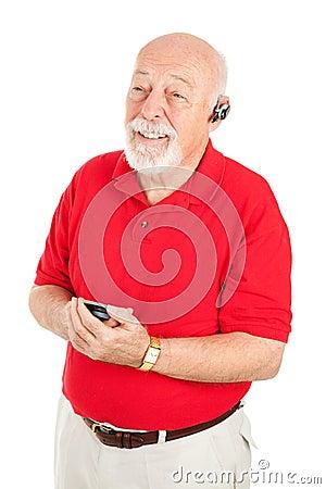 Senior Man with Hands Free Set