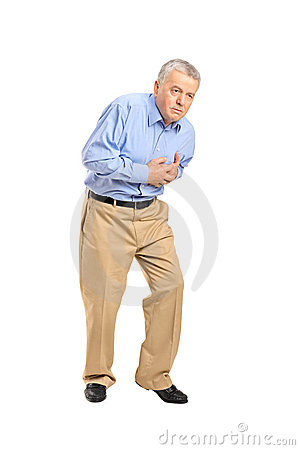 Senior man having a heart attack