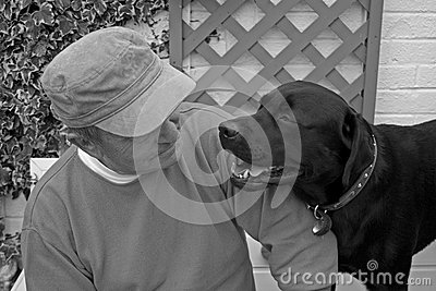 Senior man and his dog