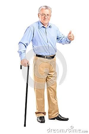 Senior man holding a cane