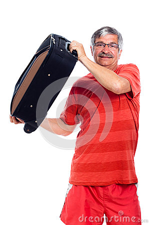 Senior man holding luggage