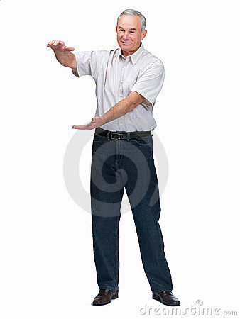 Senior man holding your product in hands on white