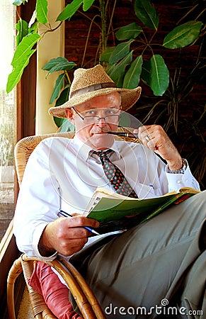 Senior man like Sherlock Holmes