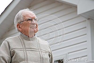 Senior Man looking upward