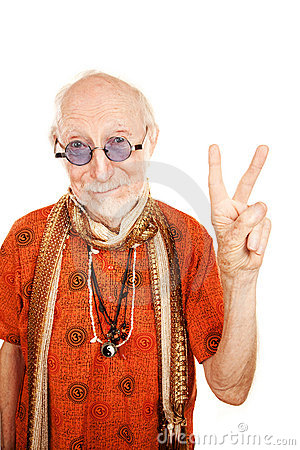 Free Senior Man Making Peace Sign Royalty Free Stock Photography - 12704787
