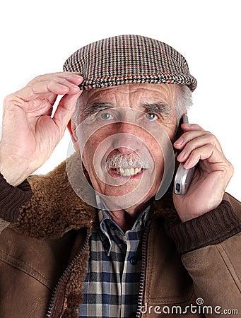 Senior man with mobile phone